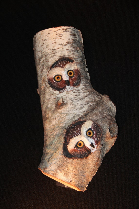 Wood Bird Carving -  Owl Art  in Birch - OOAK -  Hand Carved and Sculpted